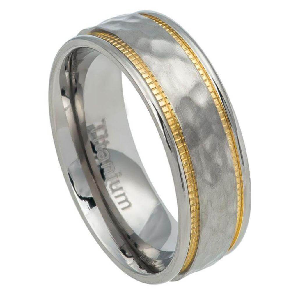 Titanium Ring Hammered Center & Yellow IP Milgrain sides - 7mm