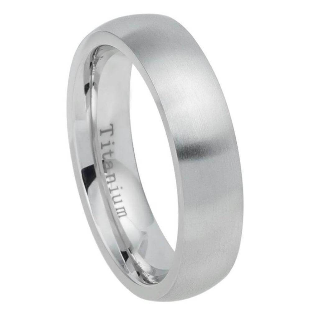 White Titanium Ring High Polished with Brushed Center - 6mm