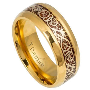 Yellow Gold IP Titanium Ring with Yellow Gold IP Celtic Design Over Rosewood Inlay- - 9mm