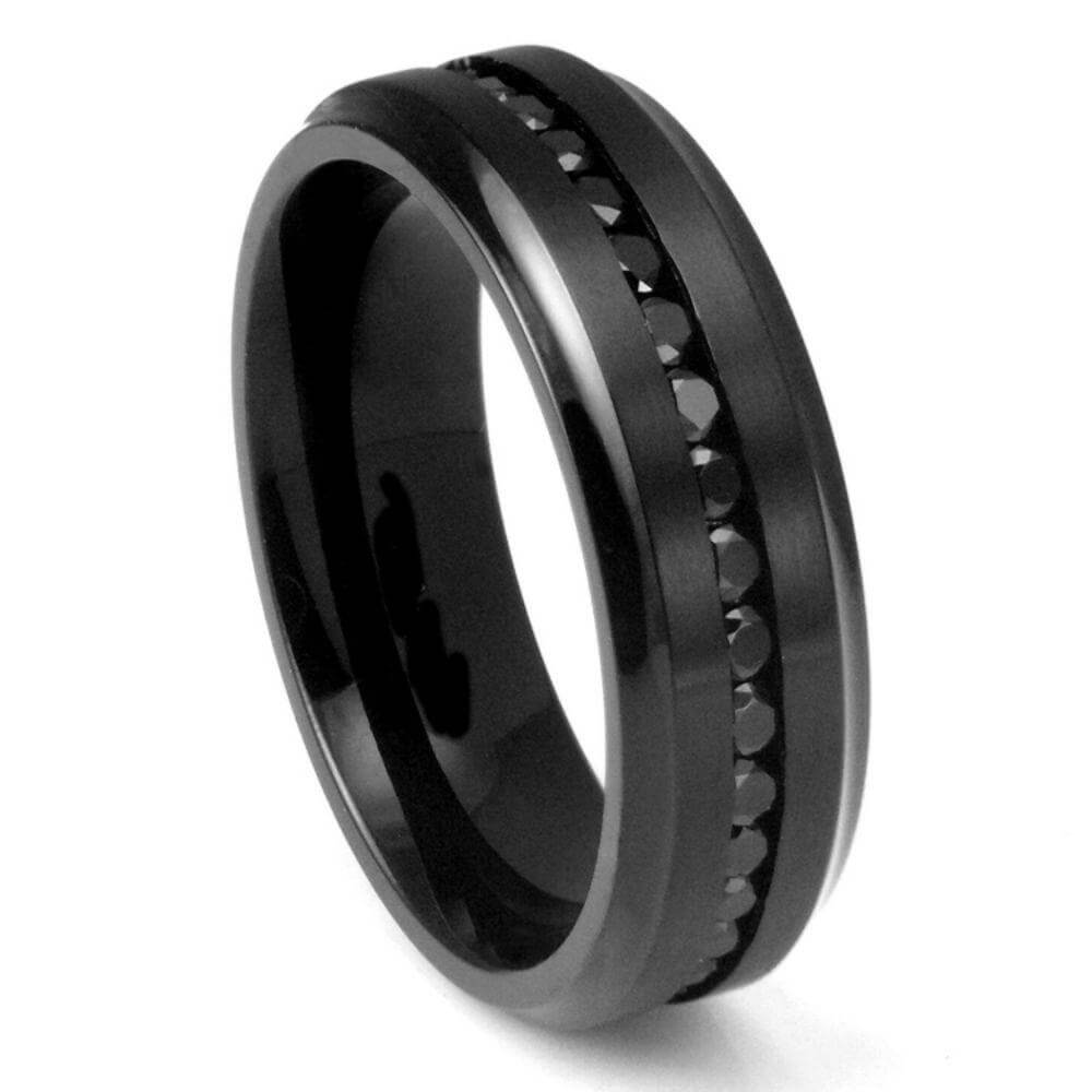 Black IP Plated with Black CZ Eternity- 8mm