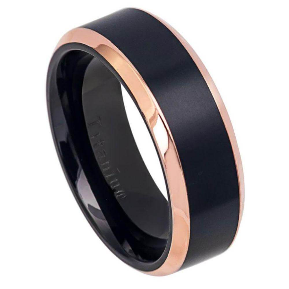 Two-Tone Black IP & Rose Gold I Brushed Center Shiny Beveled Edge Titanium Ring - 8mm