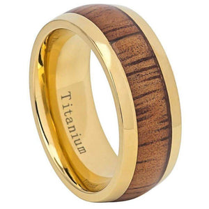 Yellow IP Domed Titanium Ring with Hawaiian Koa Inlay - 9mm