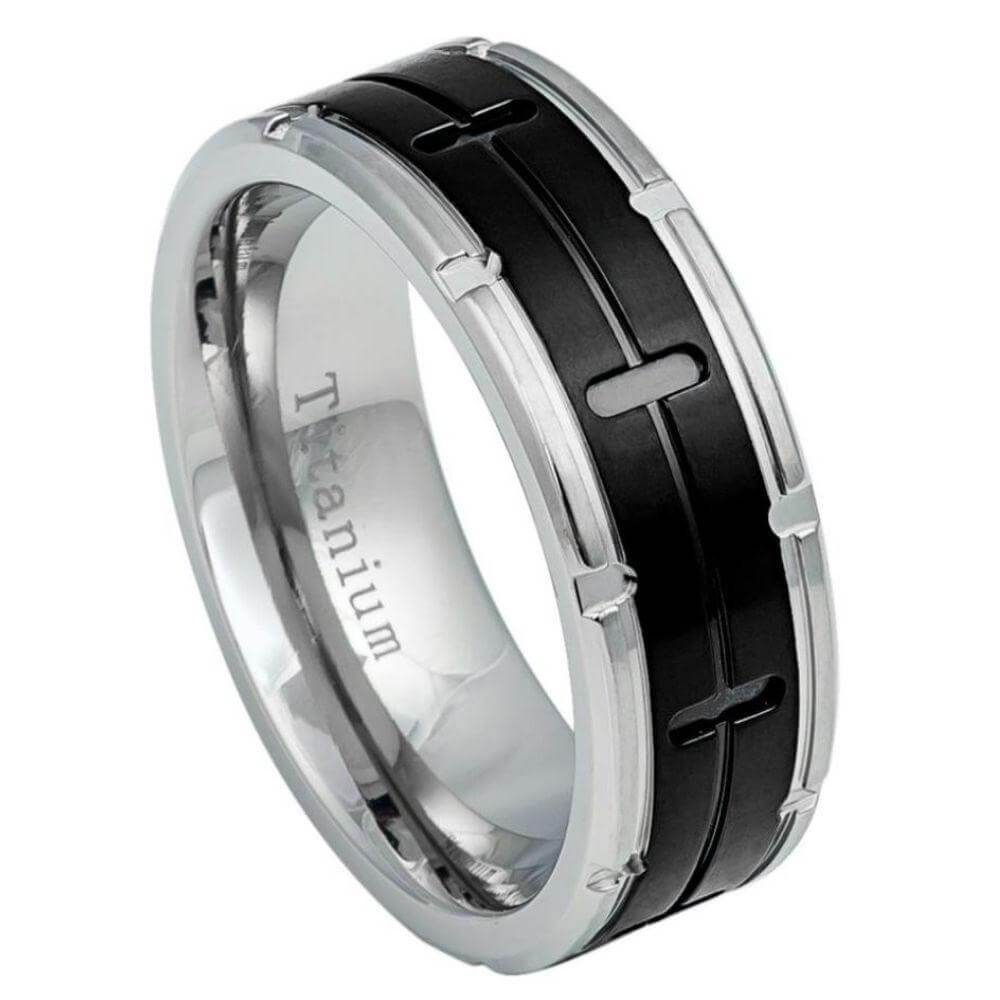 Grooved Black IP Center Titanium Ring with Titanium Color Notched Edges- - 8mm