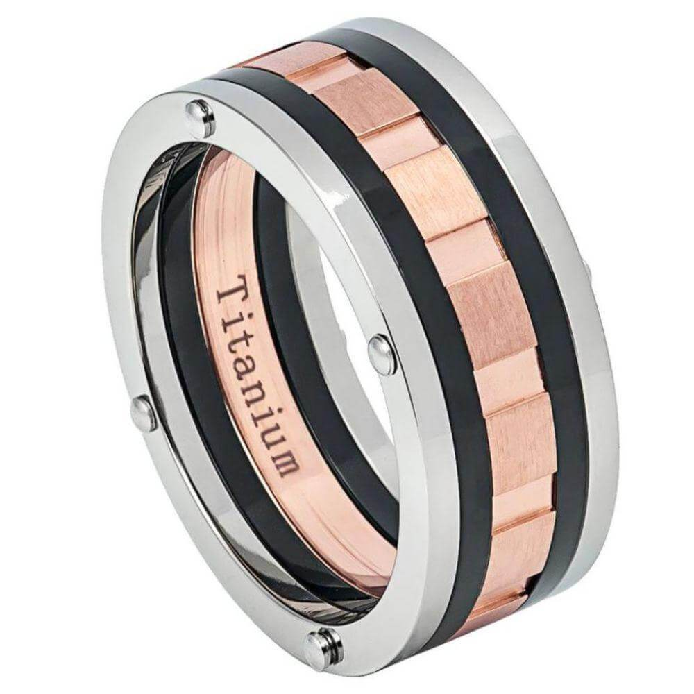 Multi-Grooved Three-tone Titanium Ring with - 9mm