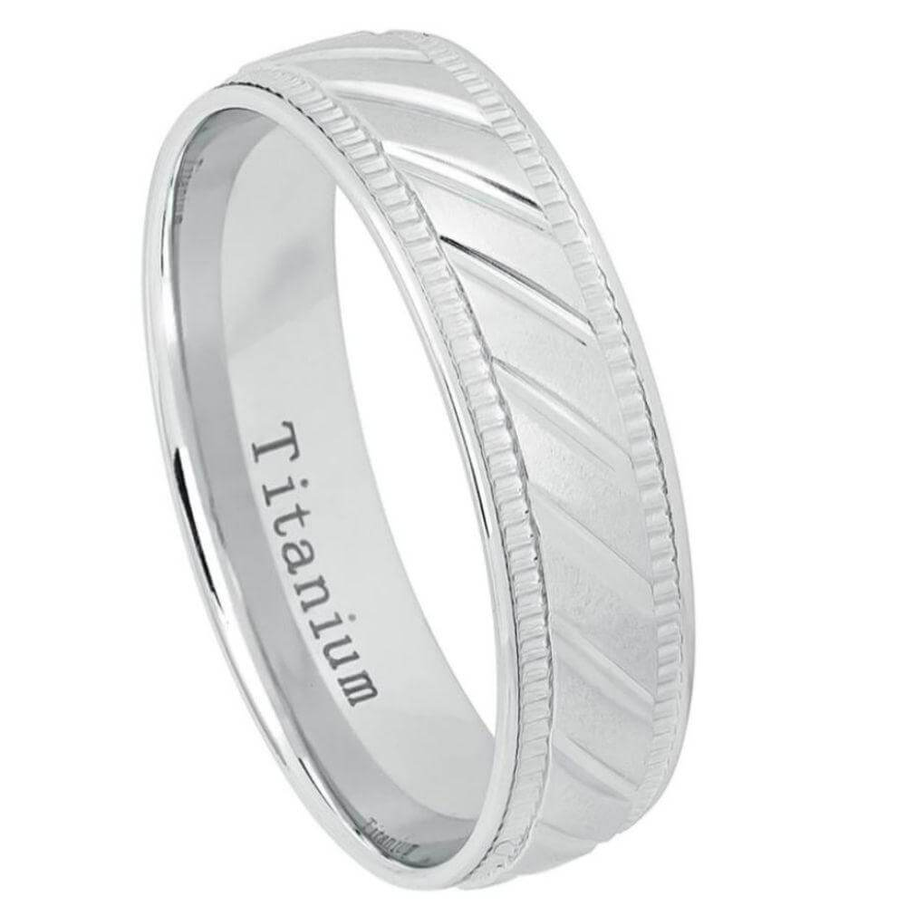 White Titanium Ring Notched Center & 2 sided Milgrain - 6mm