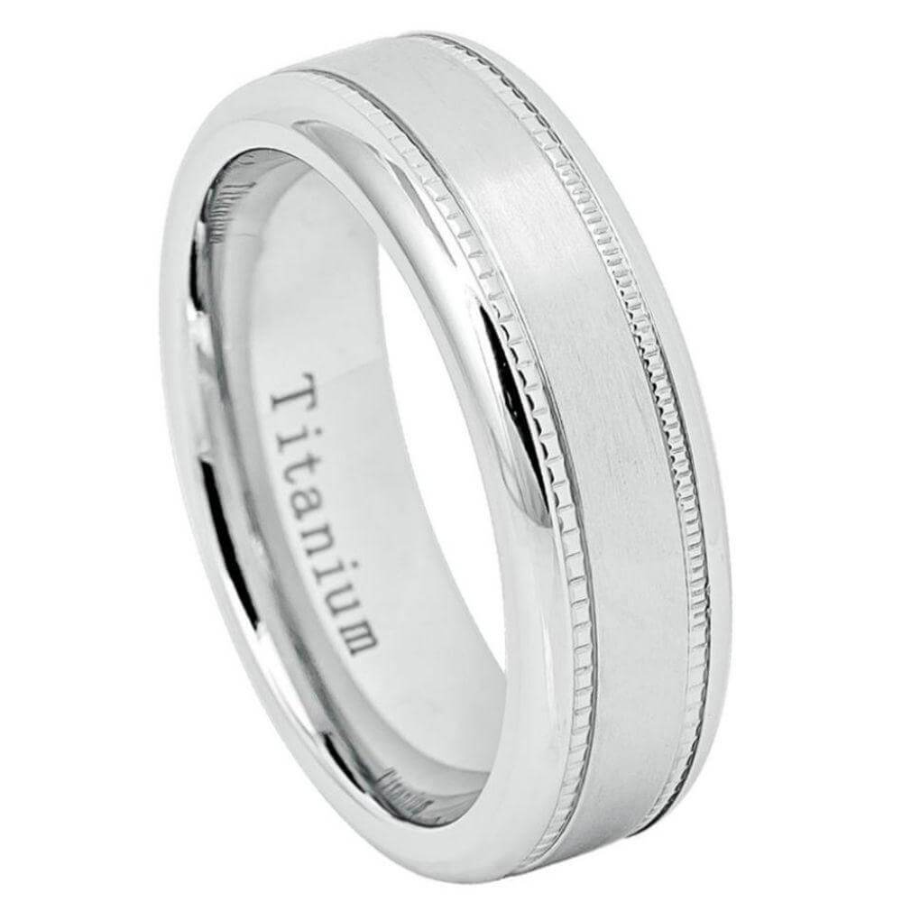 White Titanium Ring Brushed Center with Milgrain - 7mm
