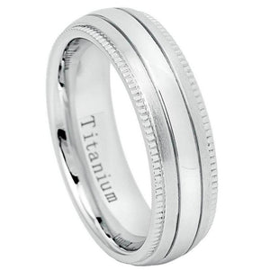 White Titanium Ring Raised Shiny Center Brushed Sides with Milgrain - 6. - 5mm