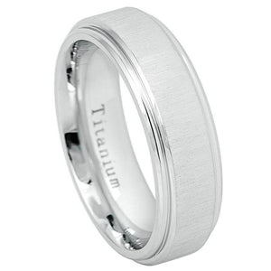 Flat White Titanium Ring Frosted Brushed  & Center High Polished Step Edge - 7mm