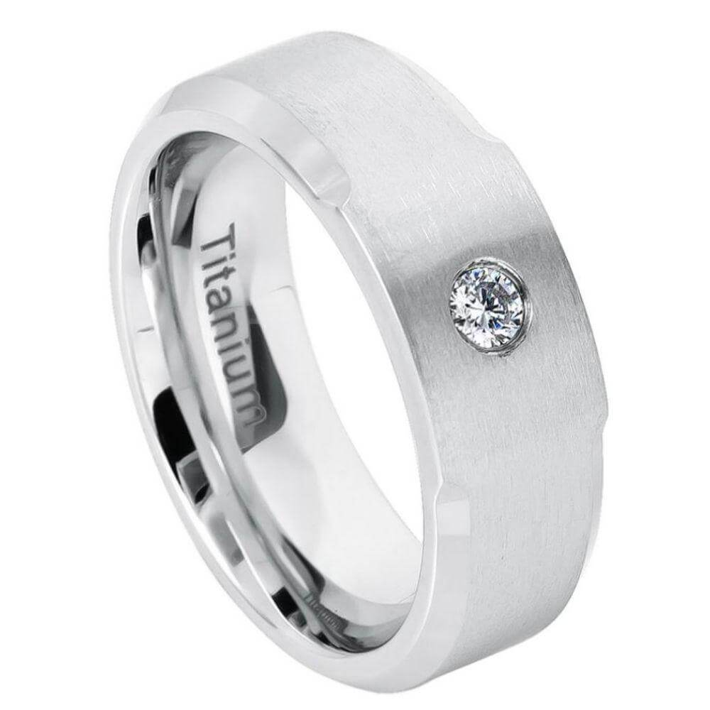 White Titanium Ring Brushed Center, Shiny Beveled Edge with CZ - 8mm