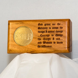 Serenity Prayer Walnut Medallion Holder