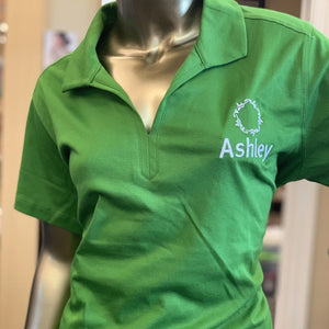 Ashley Ladies Green Rapid Dry Mesh Polo