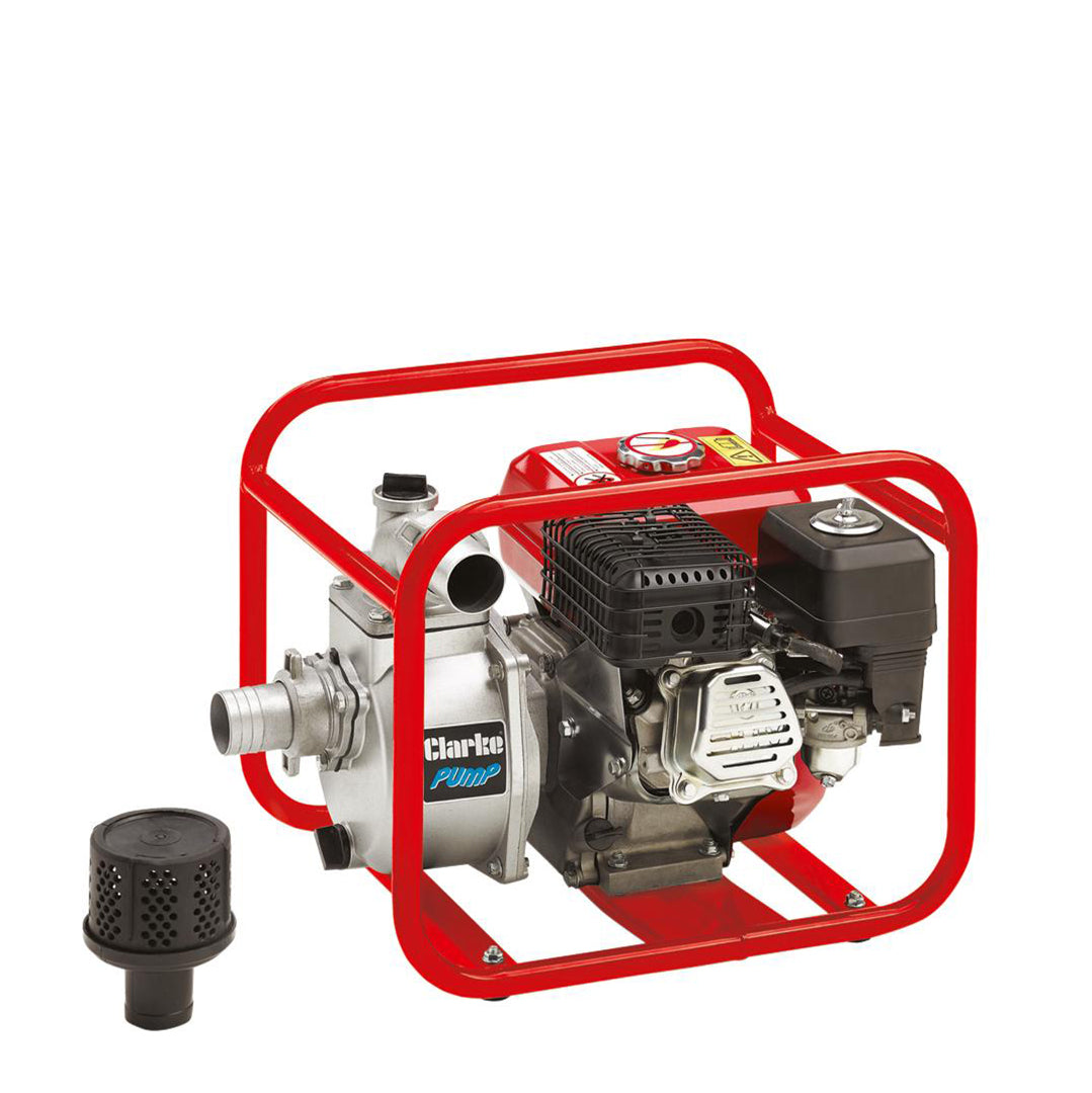 Clarke PW petrol, engine pump- in red aluminum tubular housing frame