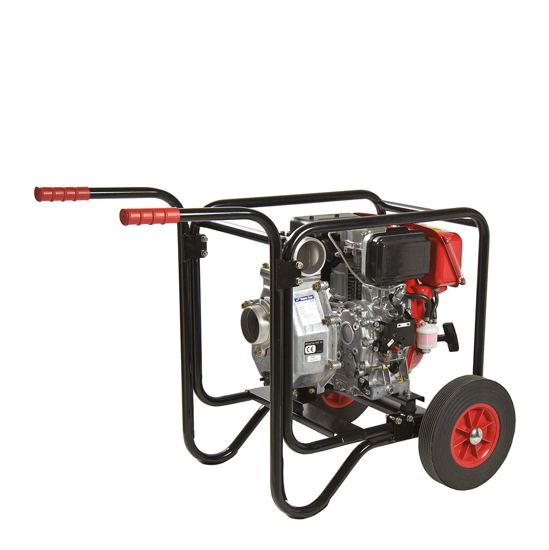 TE Tsurumi Compact Petrol Engine Water Pump- pump housed within protective tubular steel frame, with site trolley extra