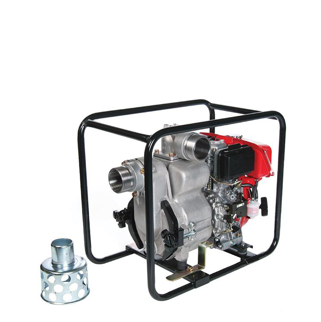 TED80RD Tsurumi Heavy Duty Trash Pump- pump housed within protective tubular steel frame