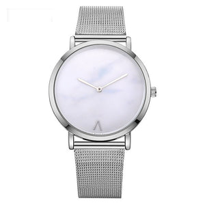Rose Gold Mesh Band Creative Marble Wrist Watch