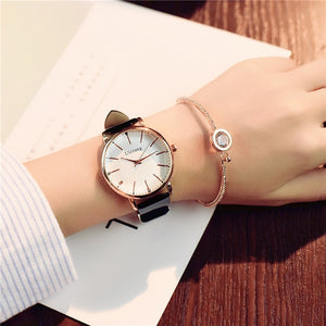 Polygonal Luxury Leather Wristwatch