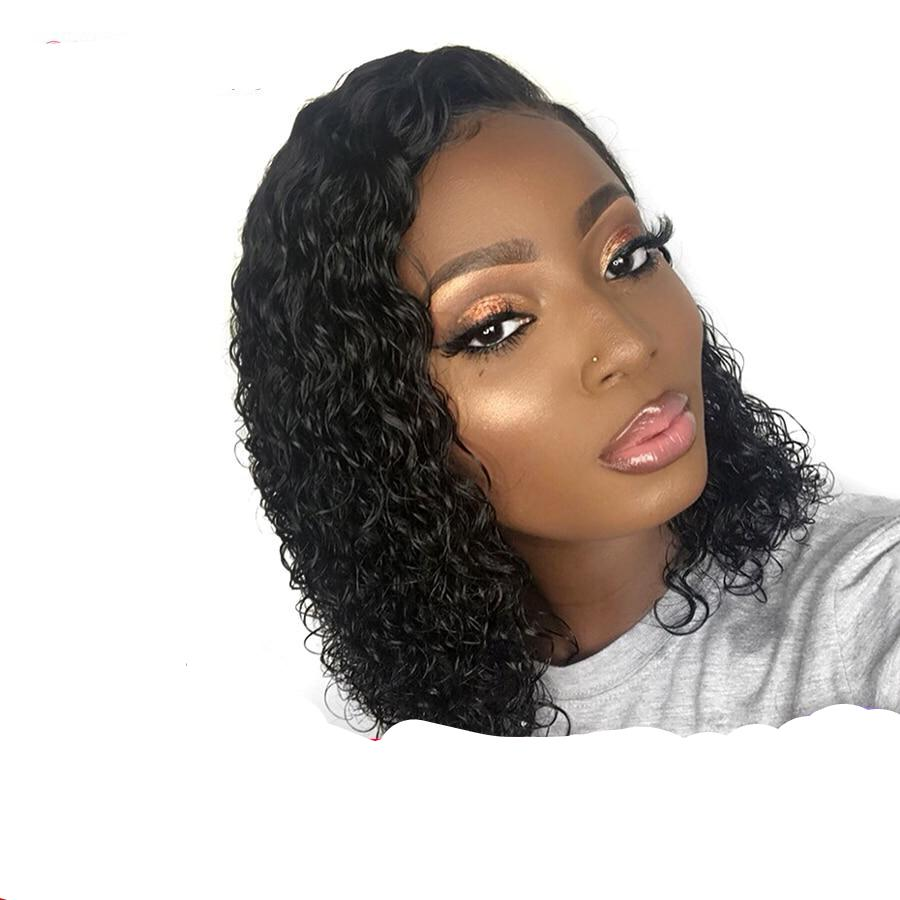 Curly Brazilian Remy Hair Lace Front Wigs 8-16""