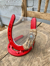 Load image into Gallery viewer, Red Horseshoe Earring Holder
