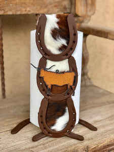 Cowhide Long Horn Paper Towel Holder