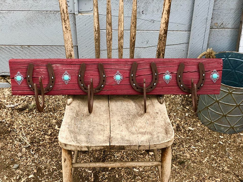 Distressed Red Horseshoe Coat Rack