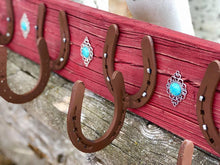 Load image into Gallery viewer, Distressed Red Horseshoe Coat Rack