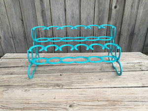 Turquoise Horseshoe Boot Rack- 6 Pairs of Boots