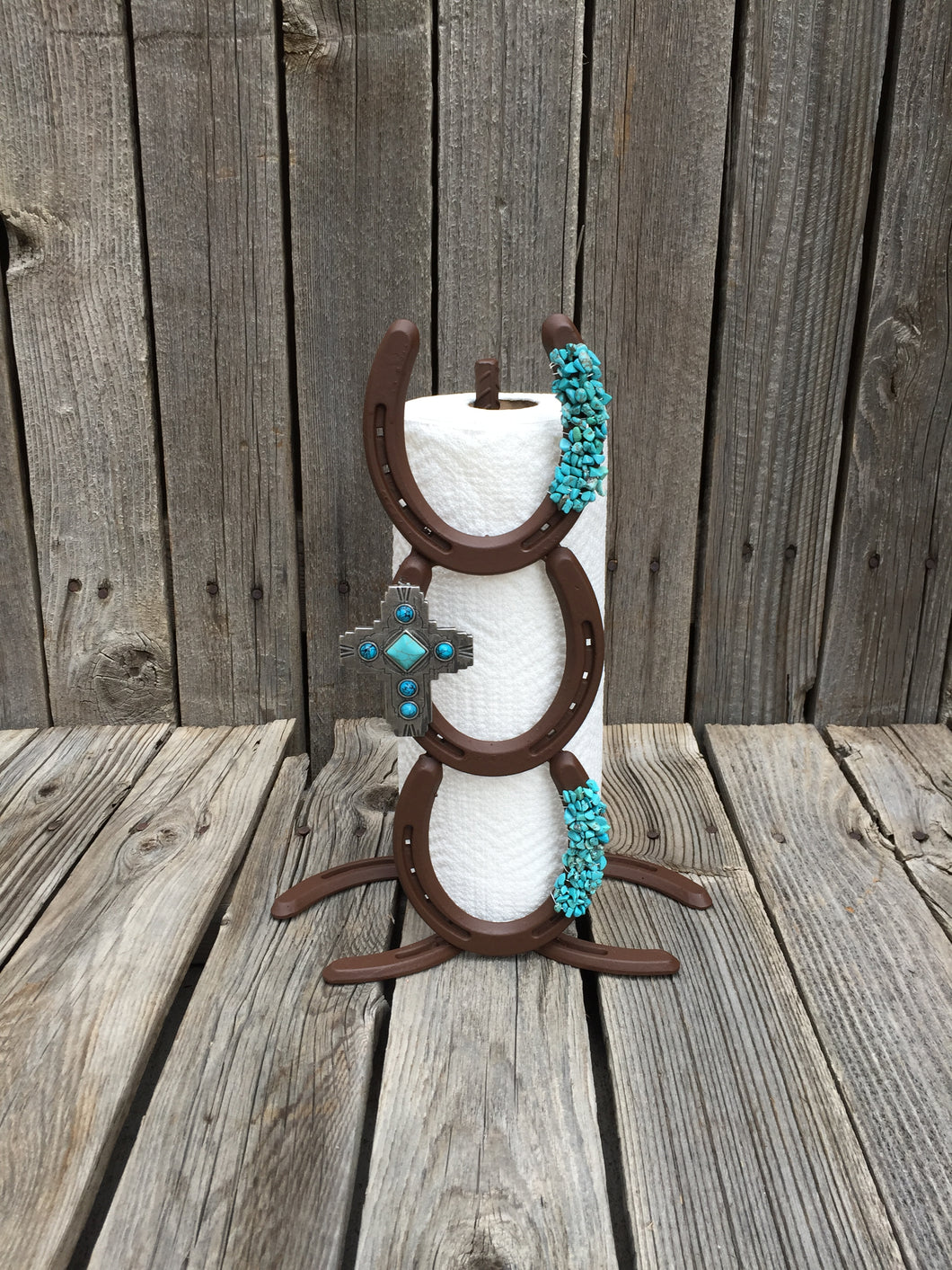 Turquoise Cross Paper Towel Holder