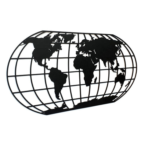 Houten Wereldkaart The Globe Midnight Black WoodWideCities