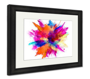 Framed Print, Explosion Of Colored Powder Isolated On White Power And Art Concept Abstract