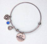 I Love Stamping Bangle - Ladybug, Blue Stone, Heart, Charms