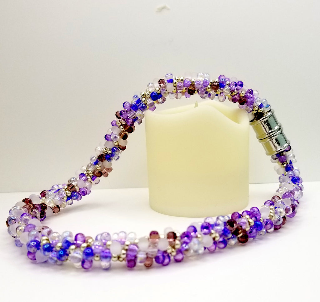 Purple, Lavender & Silver Glass Beads