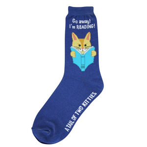 "Great fun blue socks with a yellow cat reading a great book.  The title could be ""A Tail of Two Kitties."""