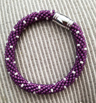 Royal Purple and Pearl Glass Beads