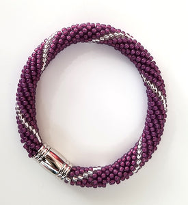Royal Purple and Silver Lined Glass Beads