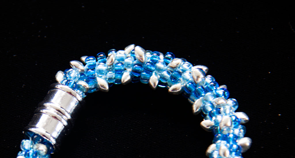 Blue Glass & Silver Bracelet