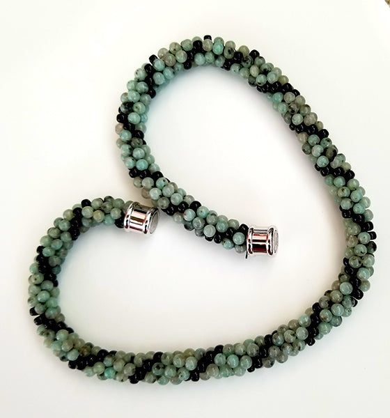 Sea Green & Black Beads