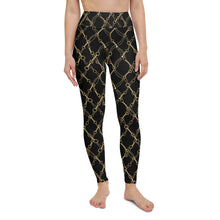 Load image into Gallery viewer, Too Cold Black and Gold Yoga Leggings