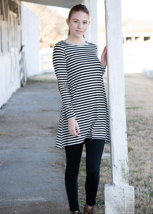 Faux Suede Elbow Patch Striped Dress