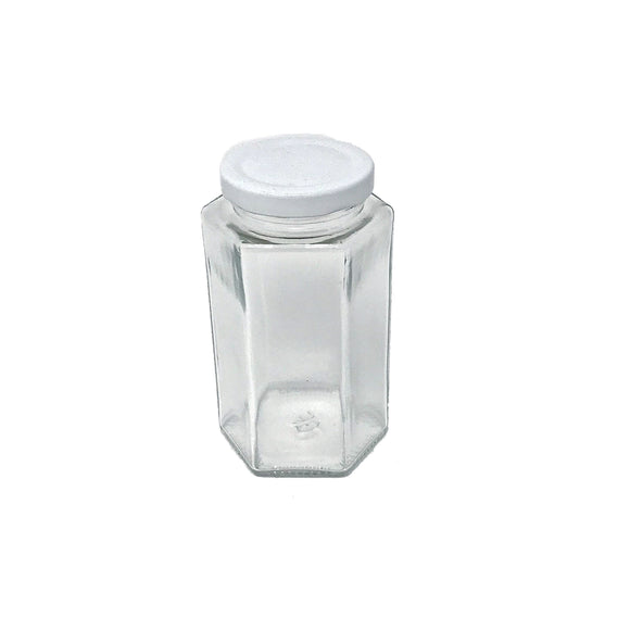 Tarro de vidrio hexagonal 400ml