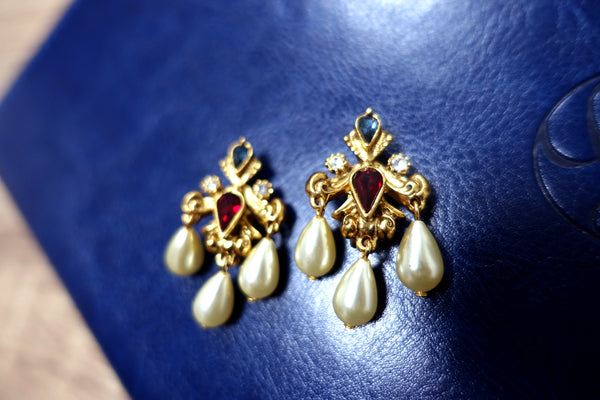 Vintage Swarovski Component Crystal Faux Pearl Chandelier Dangling Clip Earrings 施華洛世奇元素水滴型水晶仿珍珠吊燈耳夾耳環