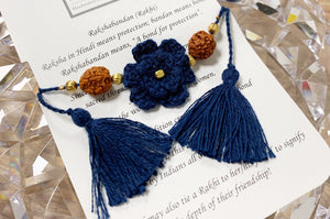 Himalayan Rakhi Crochet Friendship Bracelet / Bookmark (Navy) 喜馬拉雅山純棉編織手環 /書籤(藍色)