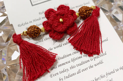 Himalayan Rakhi Crochet Friendship Bracelet / Bookmark (Red) 喜馬拉雅山純棉編織手環 /書籤(紅色)