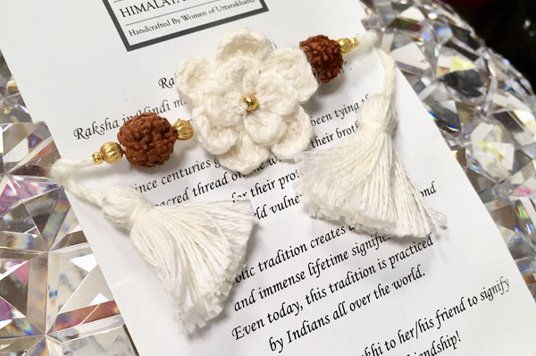 Himalayan Rakhi Crochet Friendship Bracelet / Bookmark (White) 喜馬拉雅山純棉編織手環 /書籤(白色)