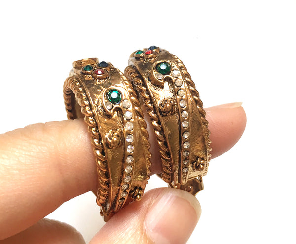 Vintage Gold Tone Multi-color Rhinestone Carved Hoop Clip Earrings 金色彩石耳圈耳夾