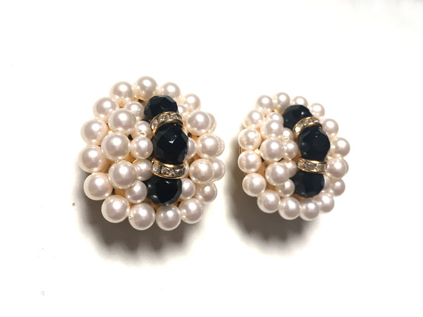 Vintage Handmade Faux Cream Pearl Rondel Rhinestone Clip On Earrings 人手製仿珍珠綴石耳夾