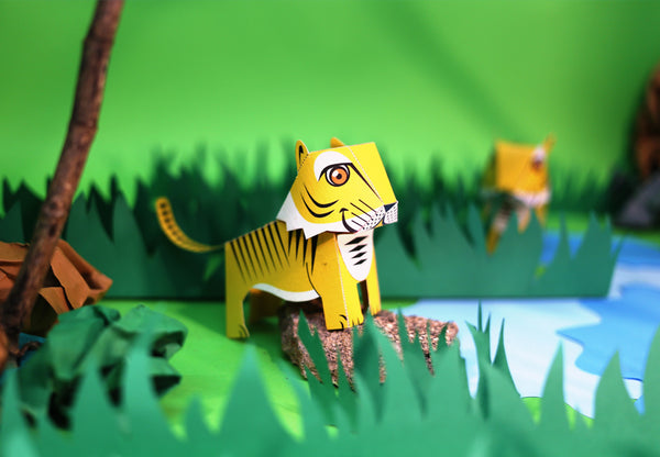 DIY Mini Tiger Educational Papercraft Kit DIY紙製迷你老虎教學模型套材
