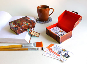 DIY Mini Travel Suitcase Box: Brown Leather Design DIY紙製迷你皮革旅行箱模型