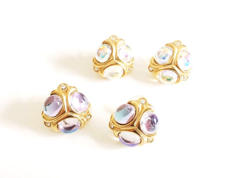 Vintage Swarovski Component Gold Tone Cabochon Rhinestone Pierced Earrings