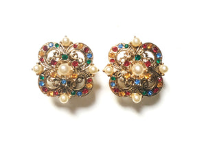 Vintage Swarovski Component Multicolor Crystal Faux Pearl Filigree Clip Earrings 施華洛世奇元素水晶仿珠通花耳夾
