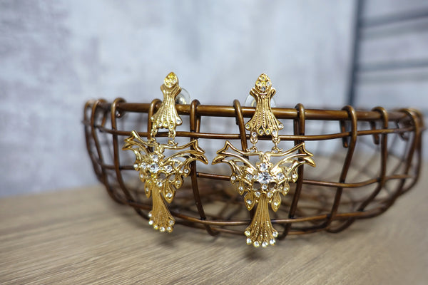 Vintage Swarovski Component Crystal Gold Tone Statement Dangle Earrings 施華洛世奇元素水晶金色墜鍊耳環